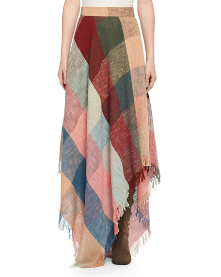 Colorblock Fringed Handkerchief Maxi Skirt, Multicolor
