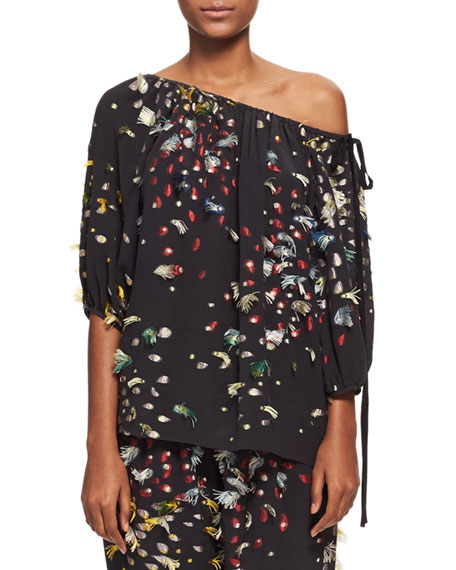 Chloe Firework Fil Coupé Off-the-Shoulder Blouse, Navy and