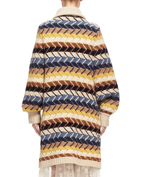 Textured Herringbone Long Cardigan, Blue/Multicolor
