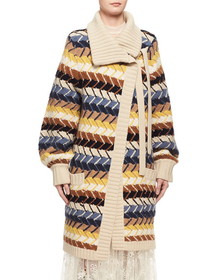 Chloe Textured Herringbone Long Cardigan, Blue/Multicolor