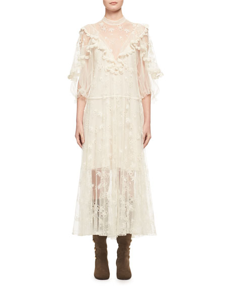 Embroidered Tulle Ruffle Gown, Off White
