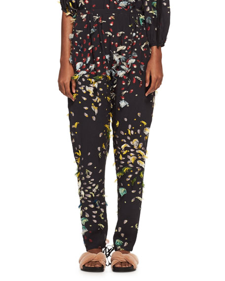 Chloe Firework Fil Coupé Relaxed Pants, Blue