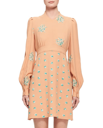 Floral-Embroidered Belted Bishop-Sleeve Dress, Peach/Mint