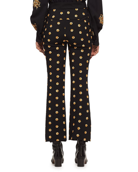 Embroidered Flower Kick-Flare Pants, Black/Gold