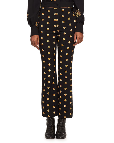 Chloe Embroidered Flower Kick-Flare Pants, Black/Gold