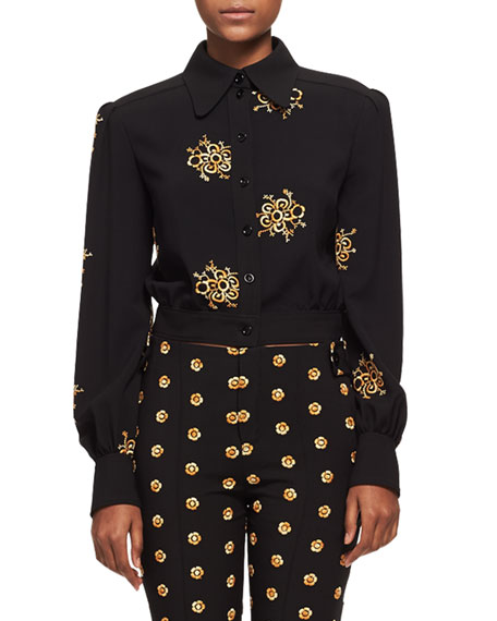 Embroidered Flower Button-Front Jacket, Black/Gold