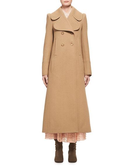 Chloe Double-Breasted Full-Length Dress Coat, Camel