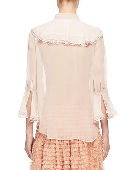 Silk Muslin Jabot Blouse, Light Pink