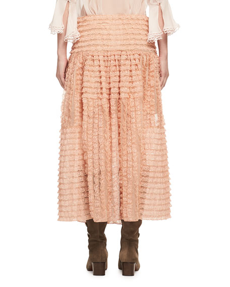 Tiered Ribbon Lace Ruffled Silk Skirt, Peach