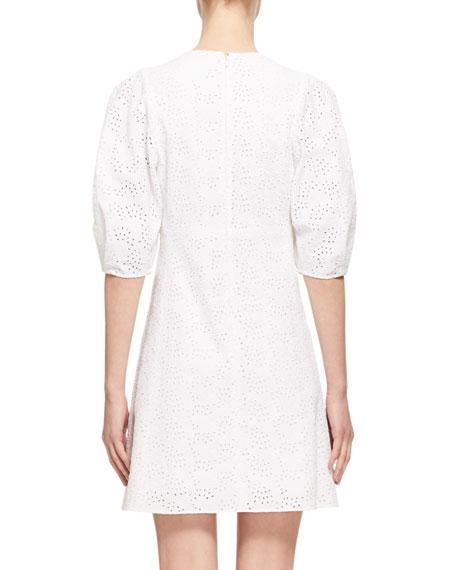 Eyelet Cady 3/4-Sleeve Dress, White