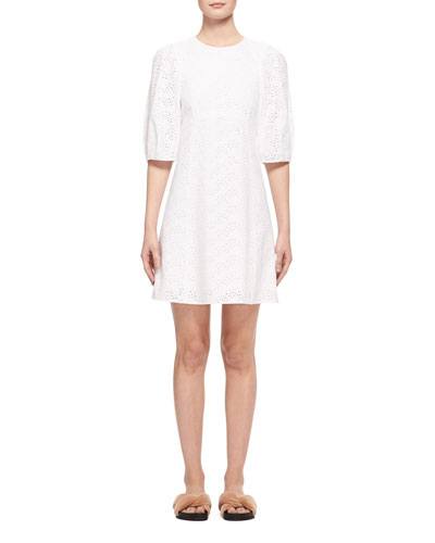 Eyelet Cady 3/4-Sleeve Dress, White
