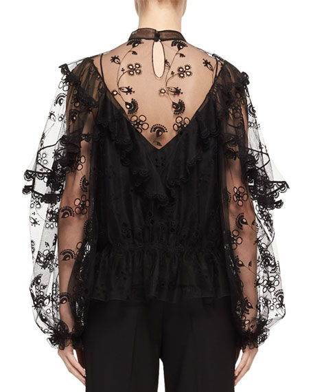 Long-Sleeve Embroidered Tulle Blouse