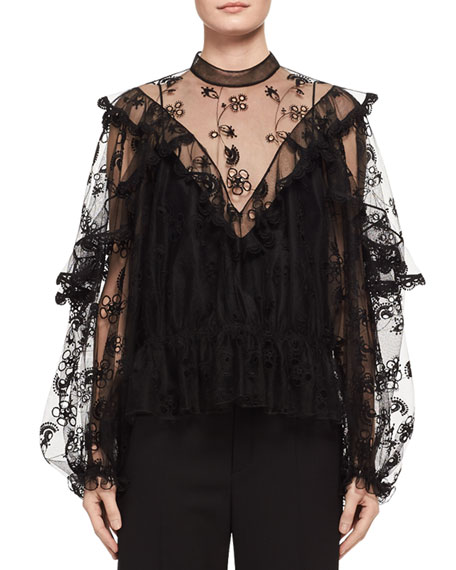 Chloe Long-Sleeve Embroidered Tulle Blouse