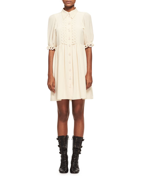 Chloe Crepe de Chine Eyelet-Trim Minidress, Light Beige