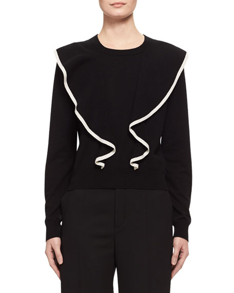 Chloe Ruffle-Front Cashmere-Cotton Sweater, Black/White
