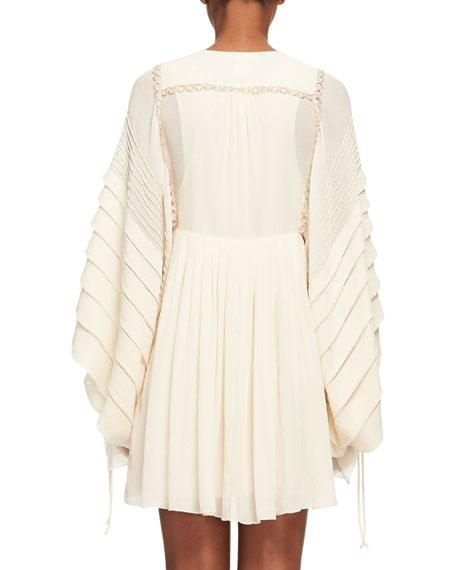 Tiered-Sleeve Metallic-Trim Minidress, Light Beige