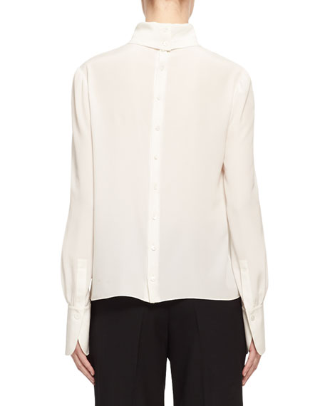 Mock-Neck Silk Crepe Button-Back Blouse, White
