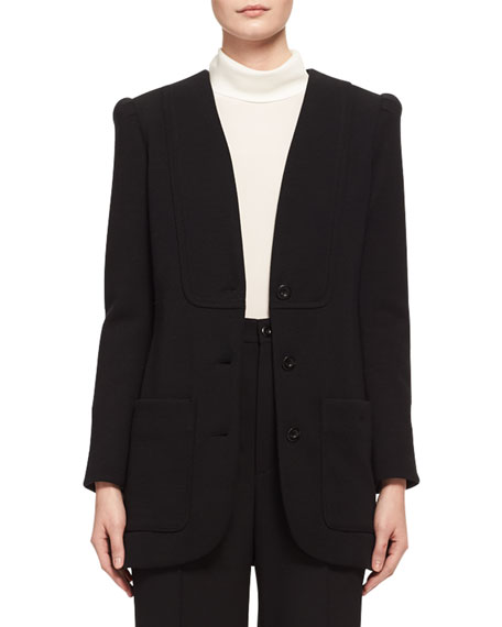 Chloe Collarless Punto Milano Jersey Jacket, Black