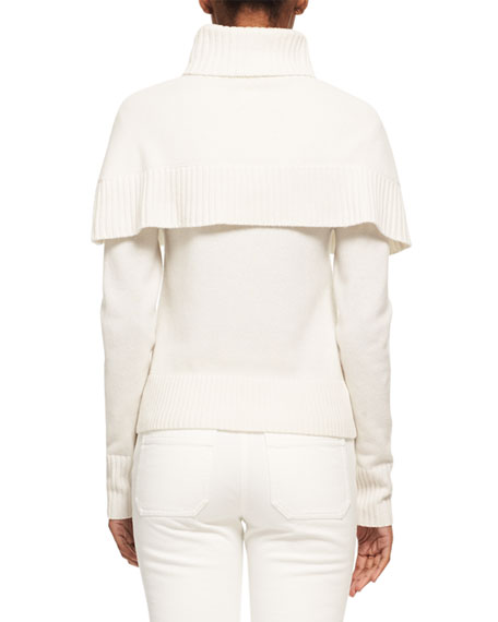 Cashmere Capelet Turtleneck Sweater, White