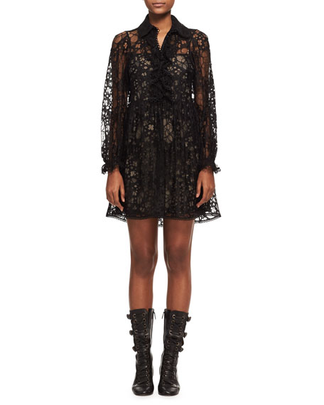 Chloe Floral Lace Long-Sleeve Minidress, Black