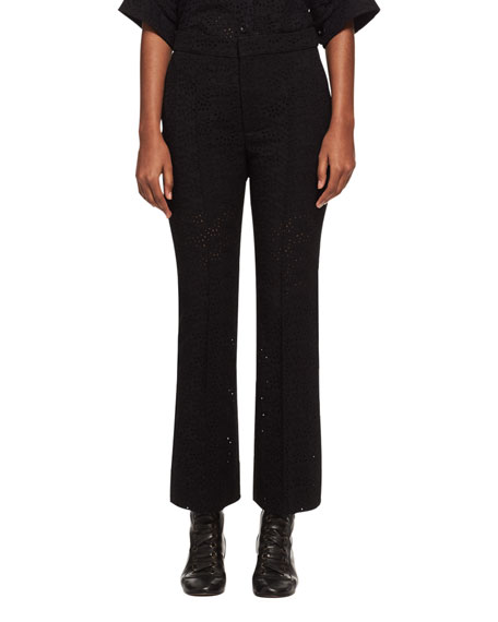 Chloe Cropped Eyelet Straight-Leg Pants, Black and Matching