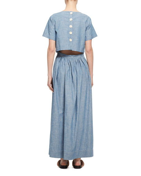 Trompe l'Oeil Chambray Short-Sleeve Maxi Dress, Light Blue