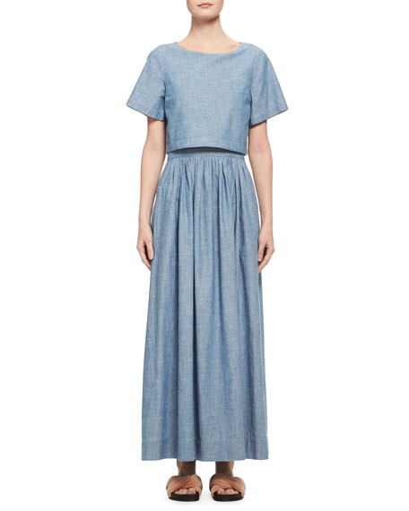 Chloe Trompe l'Oeil Chambray Short-Sleeve Maxi Dress, Light