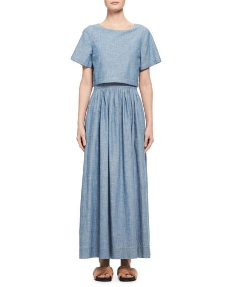 Chloe Trompe l'Oeil Chambray Short-Sleeve Maxi Dress, Light