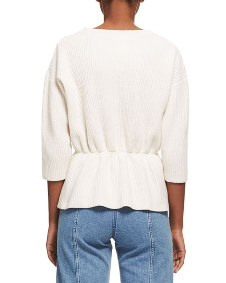 Lace-Trim Wool-Cashmere Cinch-Waist Sweater, White