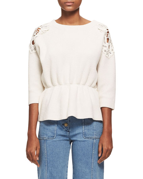 Chloe Lace-Trim Wool-Cashmere Cinch-Waist Sweater, White