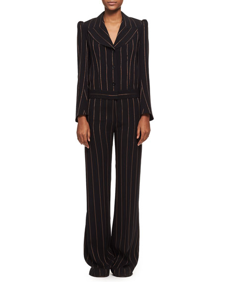 Metallic-Stripe Long-Sleeve Jacquard Jumpsuit, Black