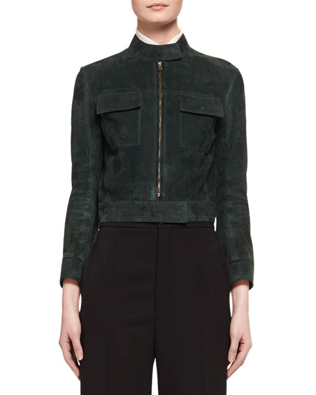 Suede Cropped Biker Jacket, Dark Green