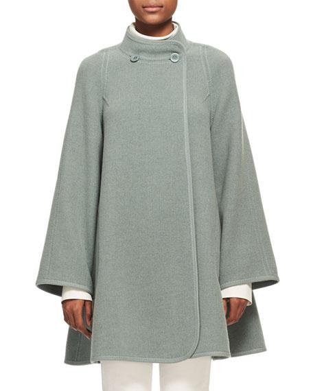 Iconic Mandarin-Collar Wool Swing Coat