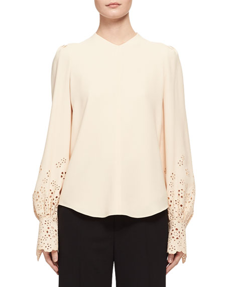 Chloe Long-Sleeve Eyelet Cady Blouse, Light Beige and