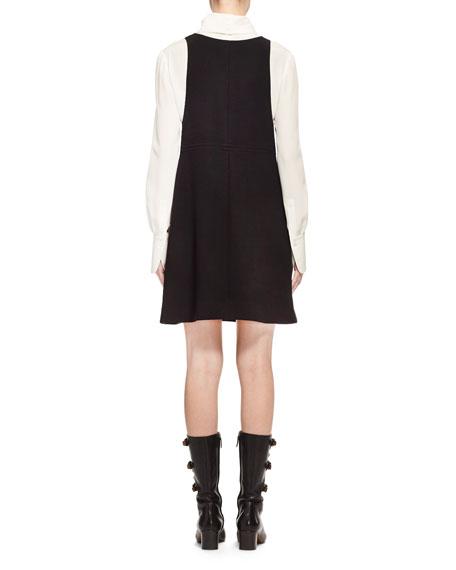 Wool Crepe Jumper Dress, Black