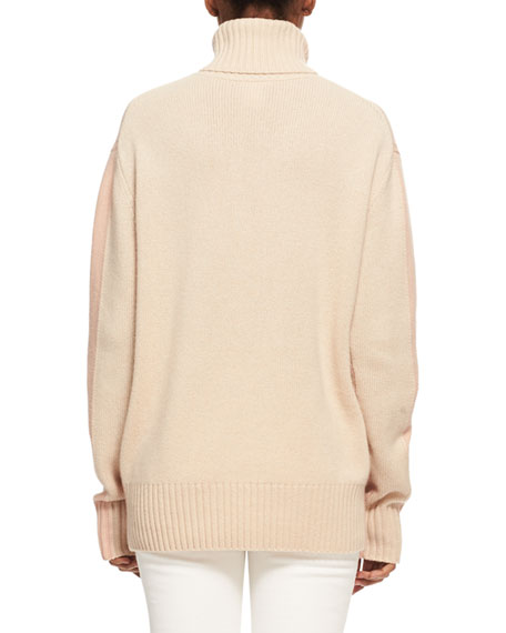Bicolor Iconic Cashmere Turtleneck Sweater, Light Pink