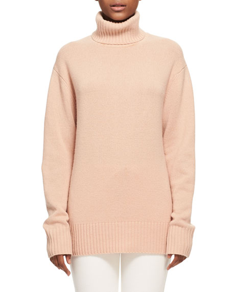 Chloe Bicolor Iconic Cashmere Turtleneck Sweater, Light Pink