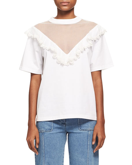 Chloe Ruffled Tulle Short-Sleeve T-Shirt, White