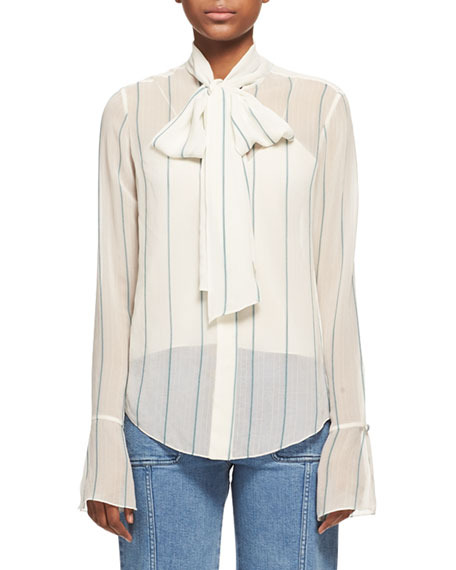 Chloe Striped Chiffon Tie-Neck Shirt, White/Green