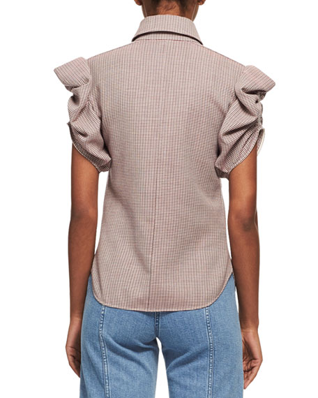 Tartan Plaid Ruched-Sleeve Shirt, Multicolor