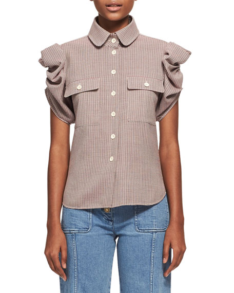 Chloe Tartan Plaid Ruched-Sleeve Shirt, Multicolor