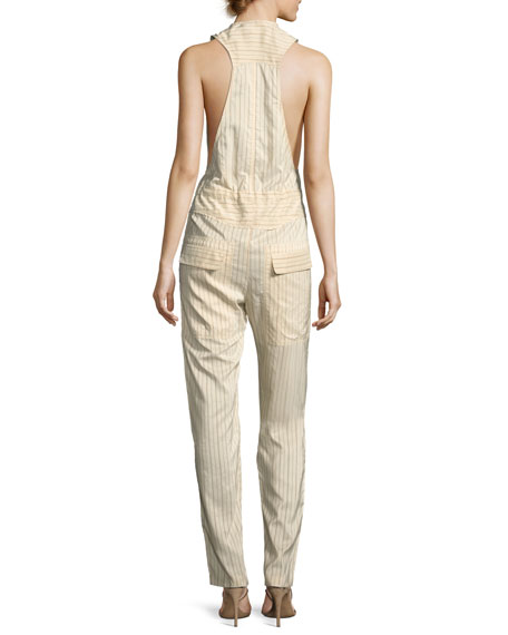 Pinstripe Sleeveless Cargo Jumpsuit