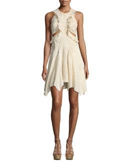 Striped Ruffle Cutout Dress