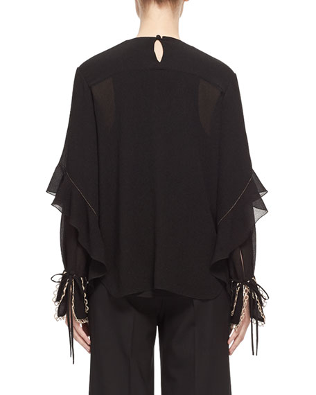 Metallic-Threaded Silk Blouse, Black/Gold