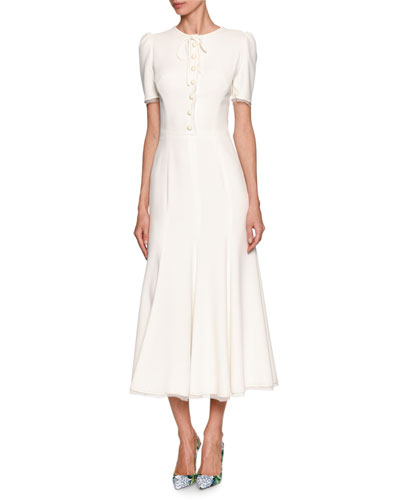 Short-Sleeve Tie-Neck Midi Dress, White