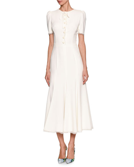 Dolce & Gabbana Short-Sleeve Tie-Neck Midi Dress, White