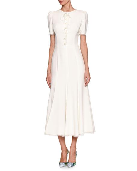 Dolce & Gabbana Short-Sleeve Tie-Neck Midi Dress, White