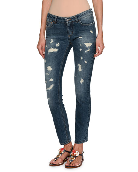 Dolce & Gabbana Distressed Skinny Ankle Jeans, Dark