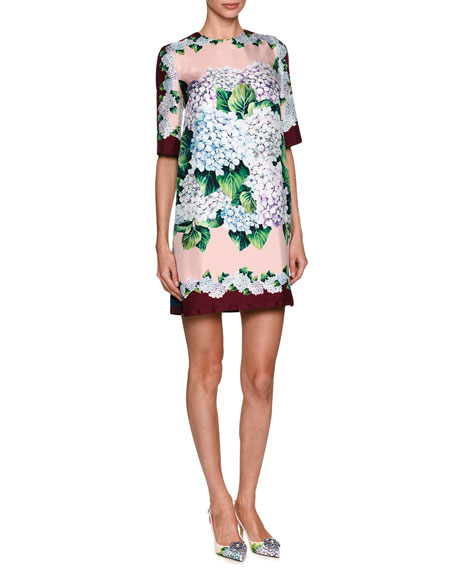 Dolce & Gabbana Hydrangea Silk Twill Shift Dress,