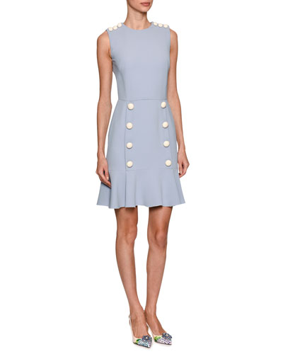 Sleeveless Button-Trim Flounce Dress, Light Blue